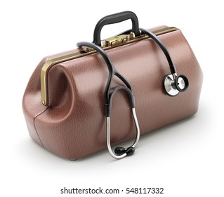 Retro brown leather doctor's bag with the stethoscope - 3D illustration