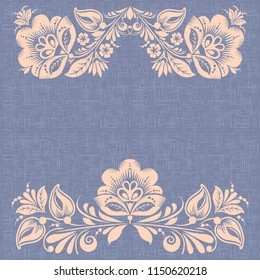 Retro burlap background, hohloma style, russian traditional flower ornament, violet canvas