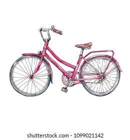 Retro Bycicle, vintage bike watercolor illustration isolated on white background