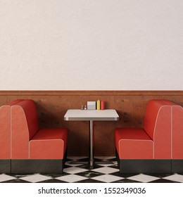 Retro cafe interior. 1950s American style diner. 3d render.