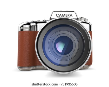 Retro Camera. Non branded SLR camera vintage retro style. Front view. 3D render.