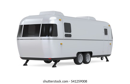Retro Camper Trailer. 3D rendering