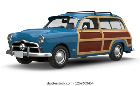 Retro car 3D illustration on white background