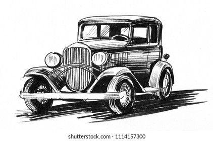 Retro car. Ink black and white sketch