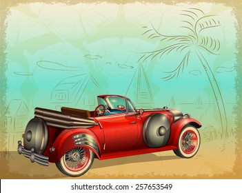 Retro car on summer background with palm trees and seascape