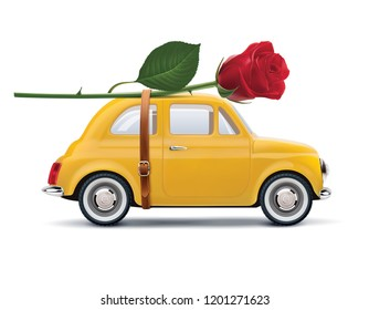 Retro car with red rose isolated on white. Realistic 3d illustration