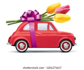 Retro car with tulips isolated on white. Realistic 3d illustration