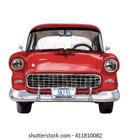 Retro car, watercolor hand drawn illustration, retro-mobile