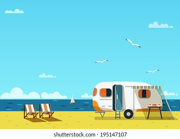 Retro caravan on the beach, summer vacation, raster illustration