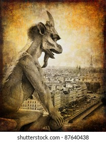 retro card ,Paris, view from Notredame cathedral