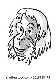 Retro cartoon mono line style drawing of head of a Sumatran Orangutan  , an endangered wildlife species on isolated white background done in black and white.