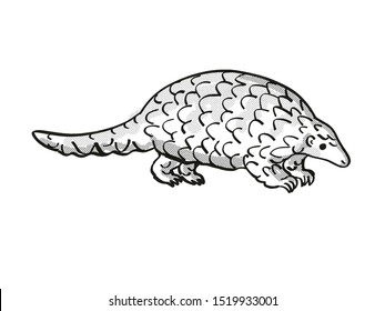 Retro cartoon mono line style drawing of a ground pangolin, Smutsia temminckii,Temminck's pangolin, Cape pangolin, an endangered wildlife species on isolated background in black and white full body.