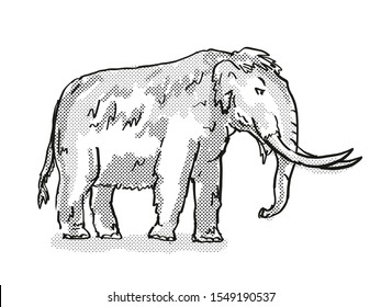 Retro cartoon style drawing of an American Mastodon, an extinct North American wildlife species on isolated background done in black and white full body.
