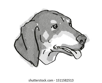Retro cartoon style drawing of head of a Black and Tan Coonhound  , a domestic dog or canine breed on isolated white background done in black and white.