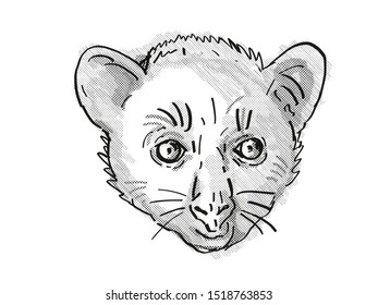 Retro cartoon style drawing of head of an Aye-Aye or Daubentonia madagascariensis , an endangered wildlife species on isolated white background done in black and white.