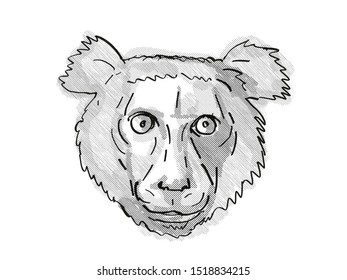 Retro cartoon style drawing of head of an Indri, a large species of Lemur found in Madagascar and an endangered wildlife species on isolated white background done in black and white.