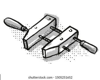 Retro cartoon style drawing of a wooden screw clamp or handscrew clamp  , a woodworking hand tool  on isolated white background done in black and white