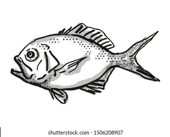 Retro cartoon style drawing of a Yelloweye Redfish  , a native Australian marine life species viewed from side on isolated white background done in black and white.