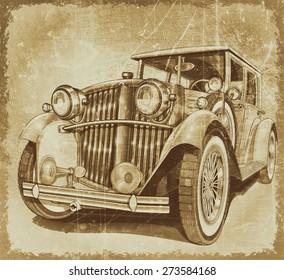 Retro car.Vintage background.