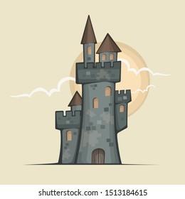 Retro castle color sketch, antique royal building, illustration