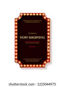 Retro cinema bulb sign shape - vintage old theater casino or circus illuminated light frame banner. Raster copy