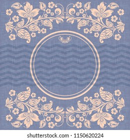 Retro circle frame , russian floral ornament in hohloma style, copy space, chevron grunge linen background