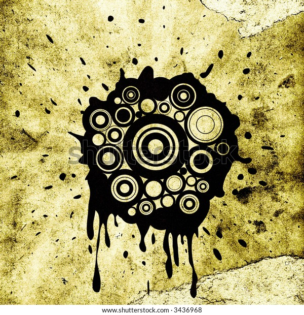 retro circles and ink splats on grunge background with rays