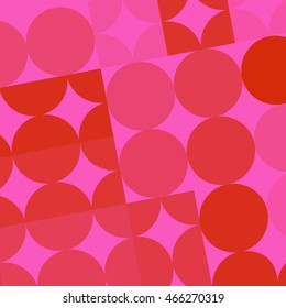Retro Circles and Squares in Pinks and Reds