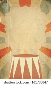 Retro circus inspired poster template on  sunbeam background with a space for your text