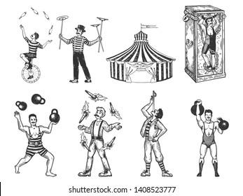 Retro circus performance set sketch raster illustration. Old hand drawn engraving imitation. Human and animals vintage drawings