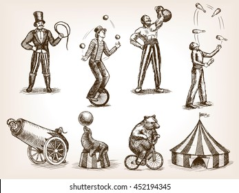 Retro circus performance set sketch style raster illustration. Old hand drawn engraving imitation. Human and animals vintage drawings