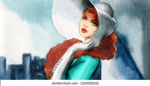 retro city style. beautiful woman. fashion illustration. watercolor painting