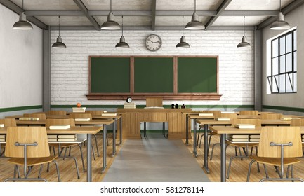 Retro classroom without student with wooden furniture - 3d rendering