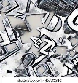retro collage of letters background