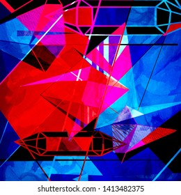 retro color abstract geometric background. An example for the design of posters postcards.