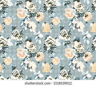 retro color blue, gold, yellow, and green  , pixel art roses pattern embroidery on seamless; roses texture pattern