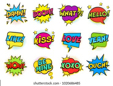 Retro colorful comic speech bubbles set with halftone shadows on white background. Expression text HELLO, YEAH, LOVE, LIKE, WOW, OUCH, DAMN, BOOM, XOXO, WHAT etc. Illustration, pop art style.