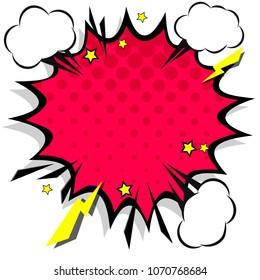 Retro comic design speech bubbles. Flash explosion with clouds, lightning, stars. Pop art elements.