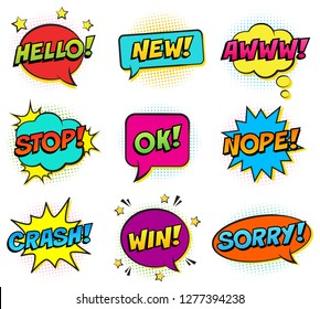 Retro comic speech bubbles set on white background. Expression text HELLO, NEW, AWWW, STOP, OK, NOPE, CRASH, WIN, SORRY.