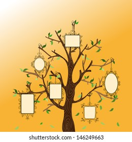 Retro concept family tree with hanging photo frames leaves.