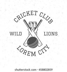 Retro cricket club logo icon design. Vintage Cricket emblem. Cricket badge. Sports tee design and symbols with cricket gear, equipment for web or t-shirt print.