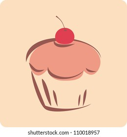 Retro cupcake silhouette with red cherry on beige neutral background. I love sweets! Sweet candy sign, bakery logo, symbol or invitation