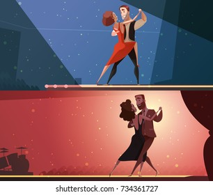 Retro dance studio 2 horizontal cartoon banners set with tango and salsa performing pairs isolated  illustration