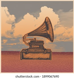 Retro design poster with gramophone, desert and sky. engraving style.