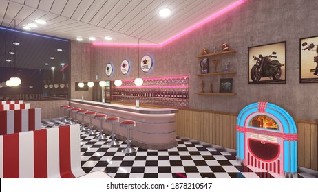 Retro diner interior with a tile floor, neon illumination, jukebox and art deco style bar stools. 3d illustration.