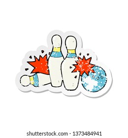 retro distressed sticker of a cartoon bowling ball and skittles