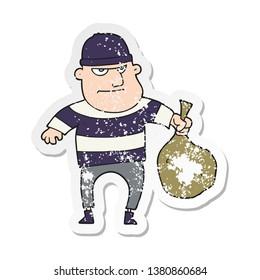 retro distressed sticker of a cartoon burglar with loot bag