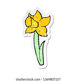 retro distressed sticker of a cartoon daffodil