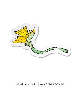 retro distressed sticker of a cartoon daffodil flower