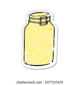 retro distressed sticker of a cartoon glass jar